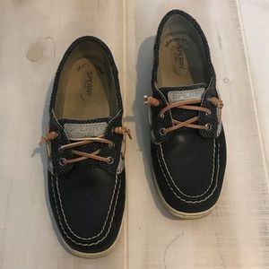 Sperry Topsider Black Leather Boat Shoes 8.5M